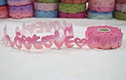 AsianHobbyCrafts Polyester Fabric non Adhesive Laser Cut Design Ribbons Printed Multi-Colored used for Scrapbooking, Hobbycrafts, Gift-wrapping etc. Width: 1.8cm; Qty: 1 Roll per pack Length: 5 Mtrs(approx.) (Pink Non adhesive)