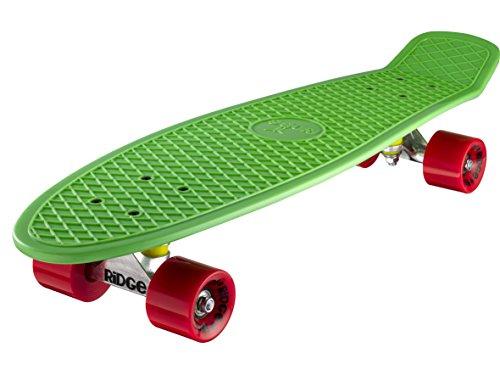 """Ridge 27"""" Retro Style Complètes Cruiser Skateboard Planche A Roulettes Plastiques 19 x 68cmcm Avec Abec-7 59mm Roulements - Vert Et Rouges"""