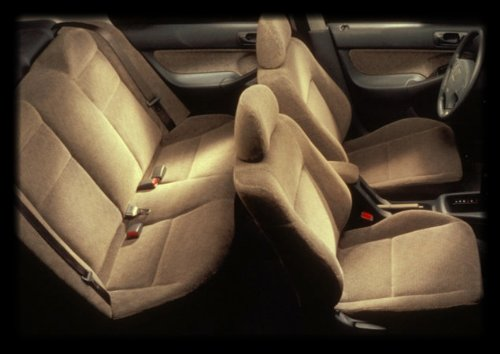 Honda Accord Beige / Tan Full Set Premium Velour Double Stitching Seat Covers - 2 Front Low Back Bucket Seat Covers W/ 2 Front Headrest Covers, And 1 Rear 2Pc Bench Seat Covers W/ 3 Extra Headrest Covers A55 front-174126