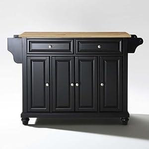 Crosley Furniture Cambridge Natural Wood Top Kitchen Island Black