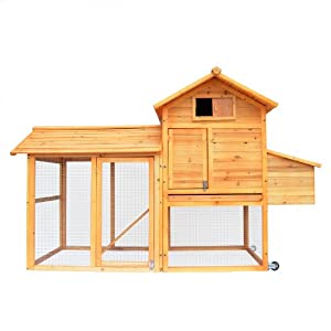 PETRUM® Chicken Wood Coop Next Box Poultry Hen House Feeder Rabbit Hutch w/ Wheel
