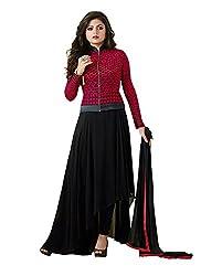 Aarsh Apparel Women's Pink and Black Georgette Anarkali Suit