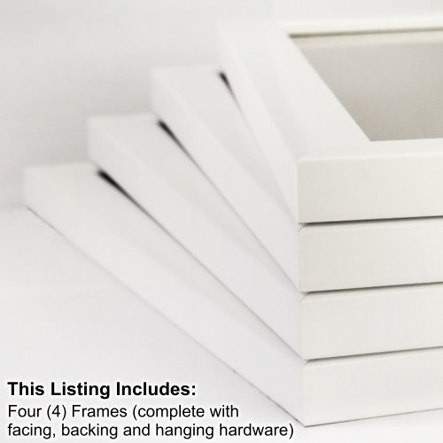 Craig Frames 23247812 13 by 19-Inch Picture Frame 4-Piece Set, Smooth Finish, 1-Inch Wide, White