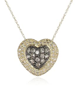 """XPY 10k Yellow Gold Chocolate Brown and White Diamond Pave Heart Pendant Necklace (.31 cttw, I-J Color, I2-I3 Clarity), 18"""""""