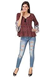 Brand Me Up women Floral Printed bell sleeve with elephant printed top -S size (Red)