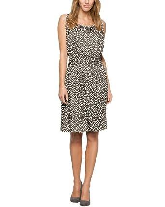 Comma Damen Kleid 89.404.82.4930, Knielang, Gepunktet, Gr. 34, Mehrfarbig (grey/black dots)