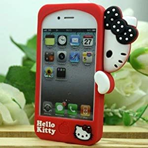 Hide lovely Bow Hello Kitty Cute Silicone Red Back Case Cover for iphone 4 4S