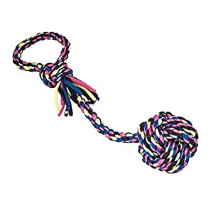 Nugoo 15-Inch Monkey Fist Ball with Single Loop Rope Tug Interactive Toy for Dog, Medium/Large