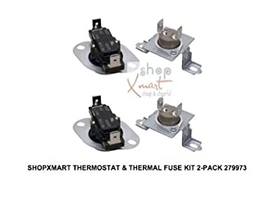 279973 2Pack Dryer High Limit Thermostat & Thermal Fuse Kit for Whirlpool Maytag