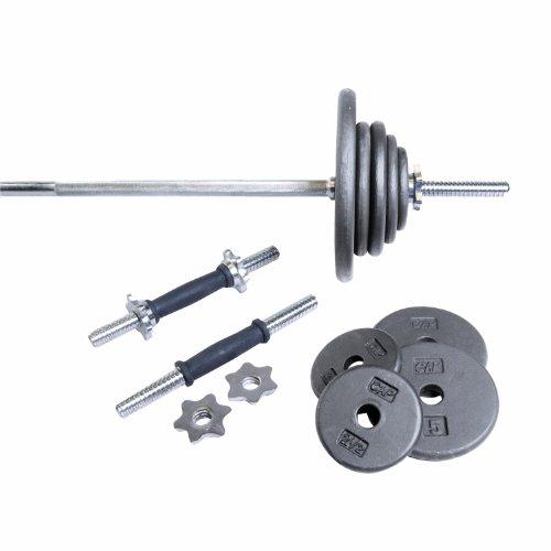 CAP-Barbell-Regular-110-Pound-Weight-Set-with-5-Feet-Threaded-Standard-Bar-Grey