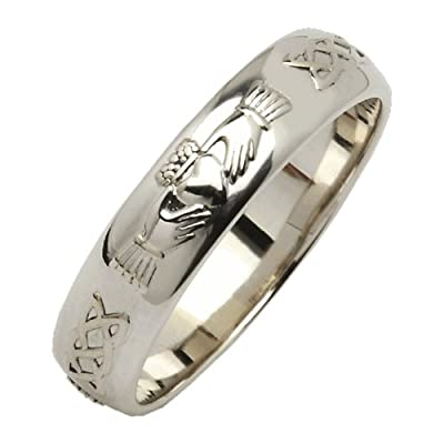 Fado Mens Silver Beveled Rounded Claddagh Wedding Ring Irish Made Claddagh
