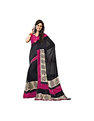 Subhash Sarees Black And Pink Designer Printed Naari Shakti Saree
