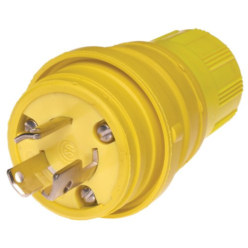 Woodhead 24W47 Watertite Wet Location Locking Blade Plug, Inline Gfci, 3 Wires, 2 Poles, Nema L5-15 Configuration, Yellow, 15A Current, 125V Voltage
