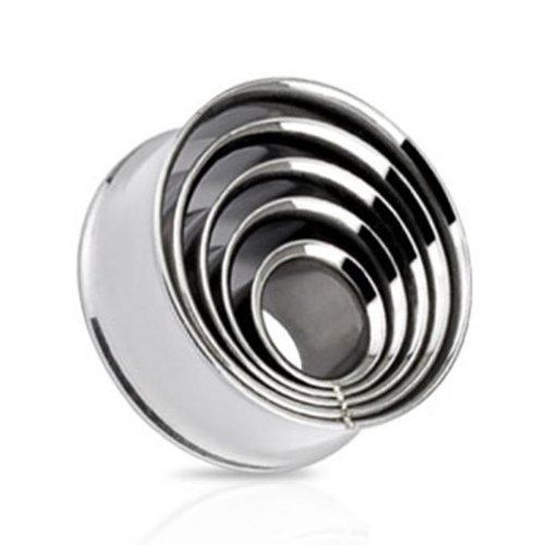 """Coolbodyart Stainless Steel Double Flared Tunnel Plug Layered Rings 0.31"""" Silver"""