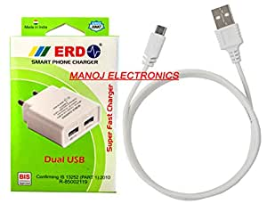 Micromax Canvas Spark 3 Charger By ERD (DUAL USB SMART PHONE CHARGER) Govt. BIS Approved