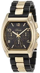 Breda Women's 5176-black Tessa Tonneau Gold Tone Black Bracelet Watch