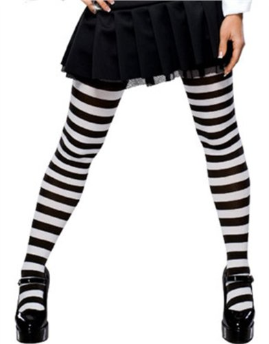 White & Black Striped Thigh High Stockings