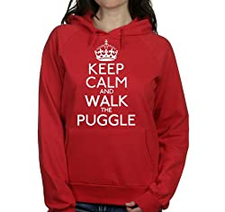 Keep calm and walk the Puggle womens hooded top pet dog gift ladies Red hoodie white print