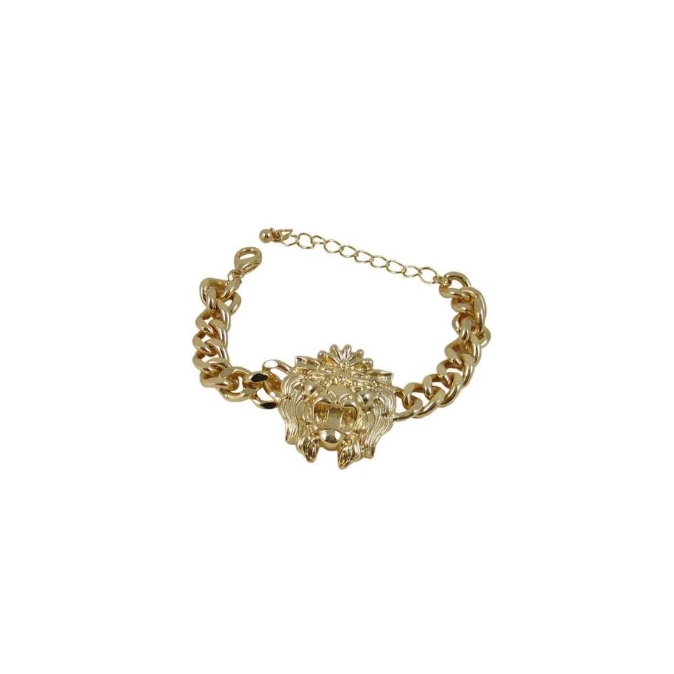 Rihanna Lion Head Bracelet Gold Tone