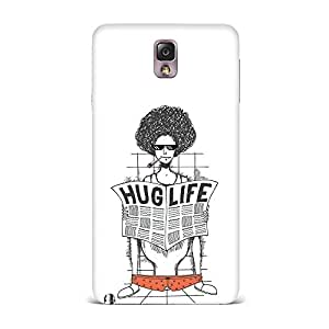 Samsung Note 3 Case [Hard Protective Cover] Printed Design- Hug Life Printed Case