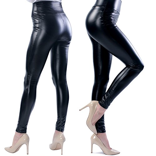 Ginasy Women's Slim Wet Look High Waist Thin Faux Leather Leggings - Large (Plus Wet Look Pants compare prices)