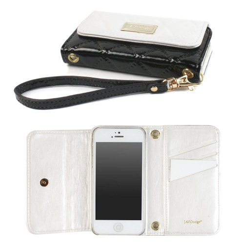 Best Price JAVOedge Vintage Quilted Clutch Wallet Case with Wristlet for the Apple iPhone 5s, iPhone 5 (White/Black)