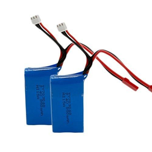 Teenitor 2 Pack 7.4V 850mAh Li-Po Battery Spare Part for WLtoys V262 RC