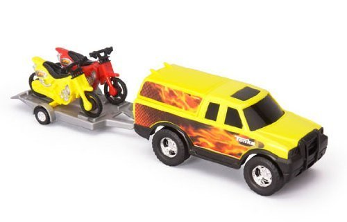 """2009 Tonka Off Road Adventure Set Suv/Truck W/ Trailer And Motorcycles (Dirt Bikes) [Entire Set About 14"""" Long Total, Yellow And Red Color]"""