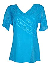 Indiatrendzs Women's Embroidered Rayon Short Sleeve Blue Top/Blouse Chest: 40