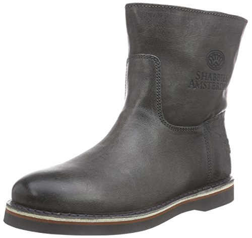 Shabbies Amsterdam Shabbies Ladies Short Boot 16Cm With Df55 Merino Lammy Lining Alissa, Stivaletti a Gamba Media Donna, Grigio (Grey 102), 37
