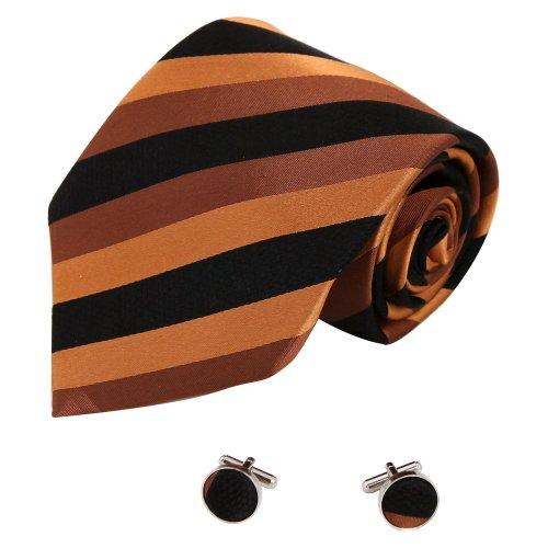 A1088 Sienna Black Stripes World Gift Mens Chocolate Sale For Business Silk Tie Cufflinks Set 2PT By Y&G
