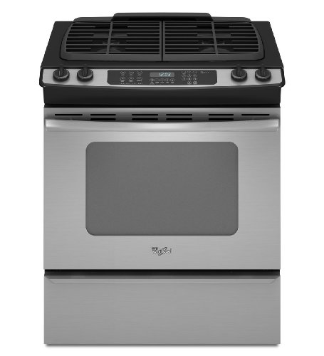 "Whirlpool Gw399Lxus Gold 30"" Stainless Steel Gas Slide-In Sealed Burner Range - Convection front-37965"