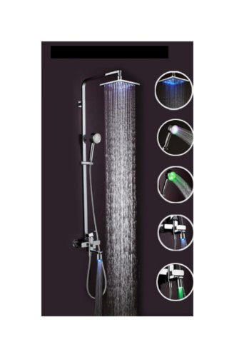 Wall Mounted Led Shower Head With Control Valve Rainfall Led Bathroom Shower Set