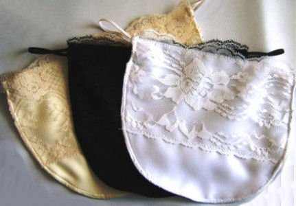 Modesty Panels with Lace Overlay. Soft, Lightweight, Peach Skin Fabric. Set of 3 colors. (Faux Cami Fashion Accessory, Elastic Loop and Button Attachment.) Medium