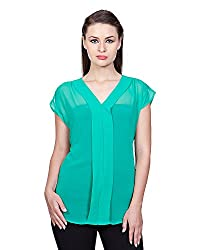 Glam Dollz Women's Poly Georgette Regular Fit Top (X-Small,Green)