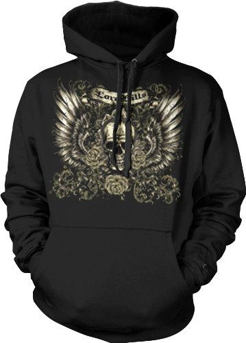 Love Kills Mens Tattoo Sweatshirt, Skull Wings And Roses Old School Tattoo Mens Pullover Hoodie, X-Large, Black