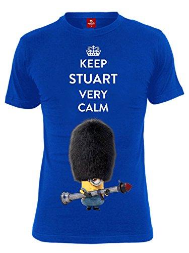 Minions-Keep-Stuart-Calm-Male-Camiseta-Blue-azul-X-Large