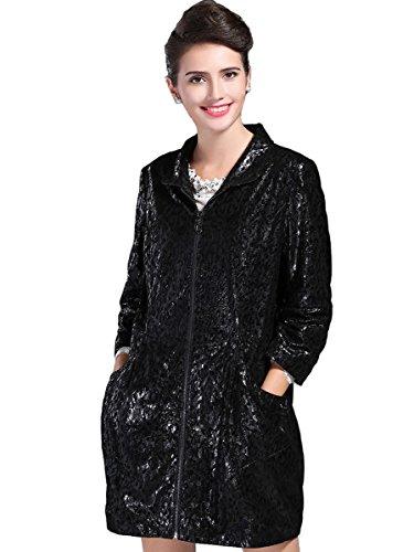 BLQY Women's Flower Printed Sheep Skin Leather Coat with Zippler Closure XX-Large Black