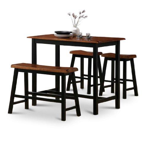 4 Piece Natural Oak Finish Table Saddle Barstools Set
