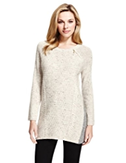 M&S Collection Cable Knit Flecked Dress with Wool