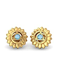 BlueStone 18k (750) Yellow Gold Aquamarine Stud Earrings