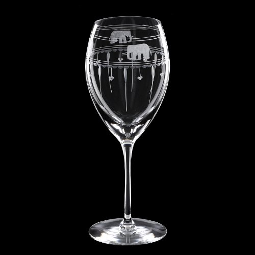 Grehom Crystal Wine Glass Large (Set of 2) - Elephants  &  Olives; Hand Etched Wine Goblets; Mouth Blown Crystal Glasses; Beautiful Gift