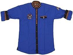 Accurate Boys' Cotton Shirt (SH 173, Blue, 6)
