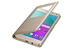 Sun Tiger (COMBO OFFER)Window Leather For samsung on5 pro with Free Tempered Glass Screen Protector(GOLD)
