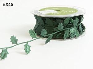 Green Holly Leaves Satin Cutout May Arts Ribbon on a 2m Length (N.B. this is a cut from a roll) from May Arts