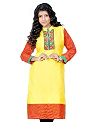 B3Fashion Designer Cotton Yellow Supernet Kurti With Full Leheria Sleeves And Border With Gujrati Embroidery &...