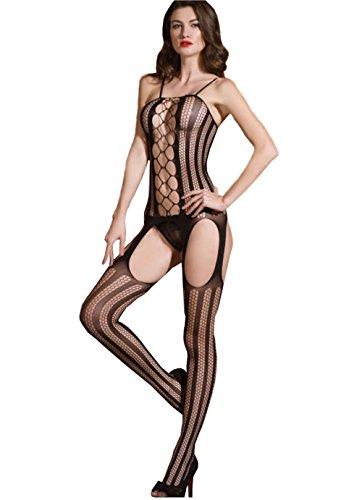 Demarkt Damen Erotik Transparent durchbohrt Netz Dessous Catsuit Bodystocking Reizwäsche Overall