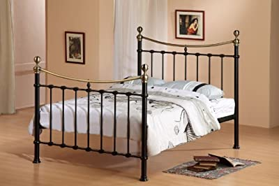 New Rome Metal Bed Frame King Size 5FT Victorian Style Black Bedstead Frame