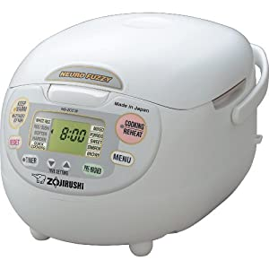 Zojirushi NS-ZCC18 10-Cup (Uncooked) Neuro Fuzzy Rice Cooker and Warmer, Premium White, 1.8-Liters