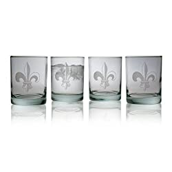 Susquehanna Glass Fleur De Lis 14-Ounce Double Old Fashion Glass Set of 4